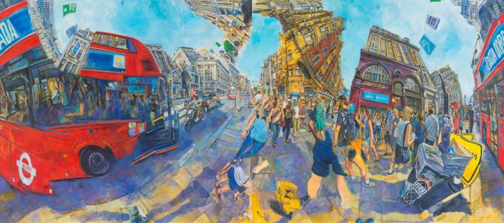 redbusesa.jpg - Painting,  170x380x5 cm ©2018 by chin kong yee -                                                Cityscape, Places, Travel