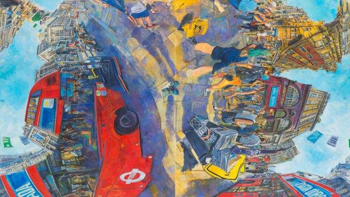 redbusesd.jpg - Painting,  190x340x5 cm ©2018 by chin kong yee -                                        Contemporary painting, Cityscape