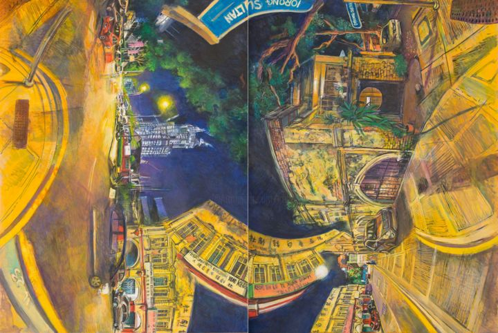 Lorong Sultan - Painting,  29.9x44.1x0.8 in, ©2019 by Chin Kong Yee -                                                                                                                                                                                                                                                                                                                                                                                                                                                      Surrealism, surrealism-627, Agriculture, Cityscape, Time, World Culture, kuala lumpur, cityscape, leather