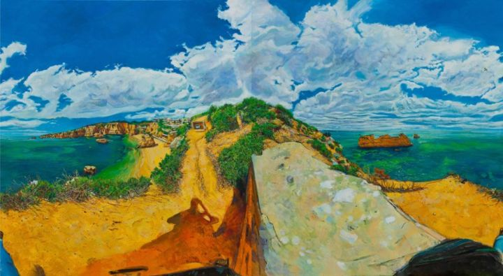 """Golden path - Painting,  190x340 cm ©2013 by chin kong yee -                            Contemporary painting, Same painting with"""" Lagos, sea"""" that left panel shifted to right side."""