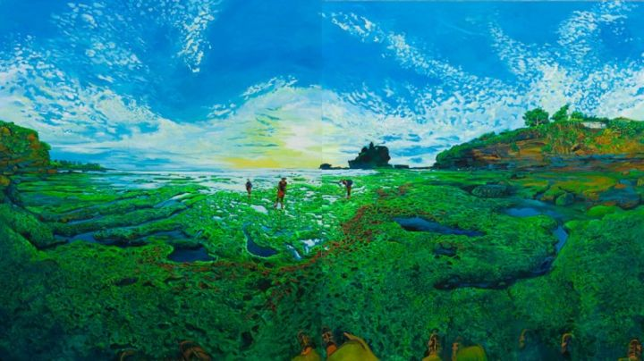 """Bali Tanahlot - Painting,  190x340 cm ©2010 by chin kong yee -            Same painting with """"Green Rocks"""" that panel shifted to right side."""
