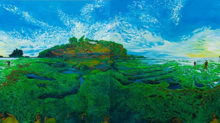 """Green Rocks - Painting,  190x340 cm ©2013 by chin kong yee -            Same painting with """"Bali, Tanahlot"""" from left panel shifted to right side."""
