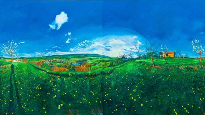 France Spring I - Painting,  190x340 cm ©2010 by chin kong yee -                            Contemporary painting, Same painting with La Forge in spring from left panel shifted to right side.