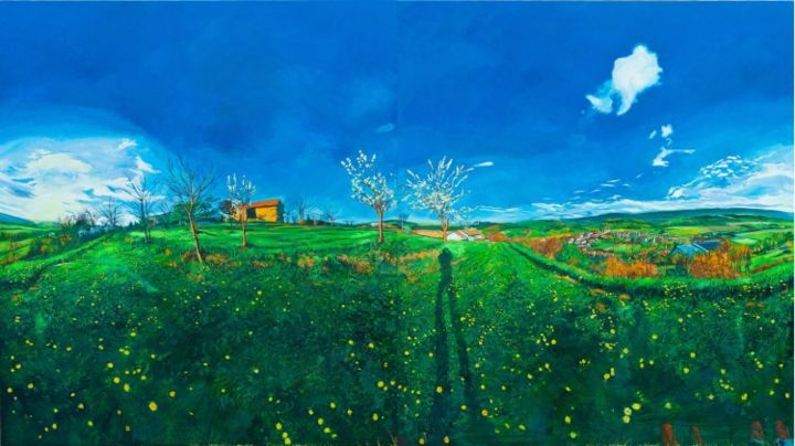"""La Forge in spring - Painting,  74.8x133.9 in, ©2010 by Chin Kong Yee -                                                                                                          Same painting with """"France, spring"""" from left panel shifted to right side."""
