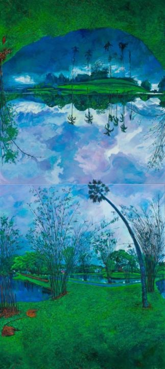 Taiping Lake (vertical format with top and bottom panels interchanged and inverted) - Painting,  340x190 cm ©2010 by chin kong yee -