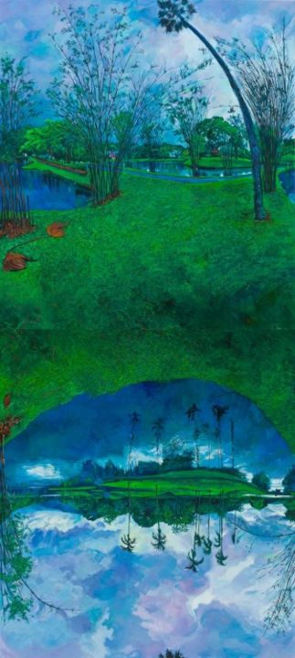 Taiping Lake (vertical format with top and bottom panels interchanged and inverted) - Painting,  190x340 cm ©2010 by chin kong yee -