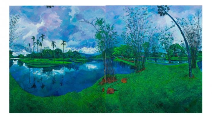 Taiping Lake (horizontal format with right and left panels interchanged and inverted) - Painting,  340x190 cm ©2013 by chin kong yee -
