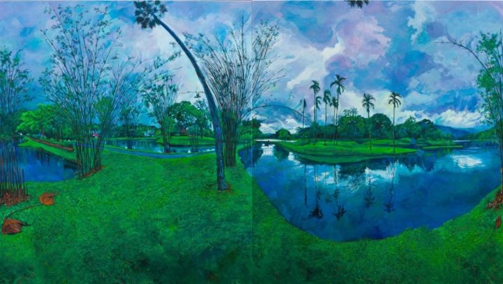 Taiping Lake (horizontal format with right and left panels interchanged and inverted) - Painting,  190x340 cm ©2010 by chin kong yee -
