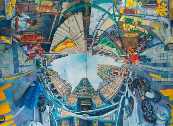 Jalan Tun H.S lee-Indian Temple.Shown in 3 of 4 possible arrangements - Painting,  74.8x102.4 in, ©2013 by Chin Kong Yee -