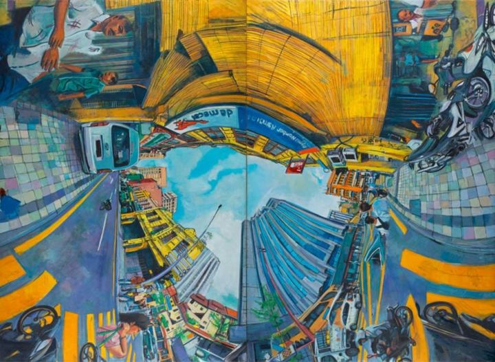 Jalan Tun H.S Lee-Da Ma Cai .Shown in 1 of 4 possible arrangements - Painting,  74.8x102.4 in, ©2013 by Chin Kong Yee -