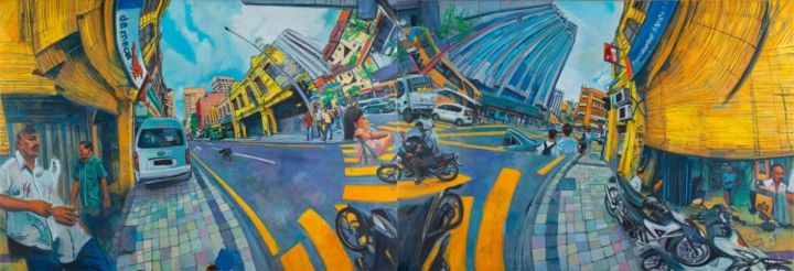 Jalan Tun H.S Lee-Da Ma Cai .Shown in 2 of 4 possible arrangements - Painting,  51.2x149.6 in, ©2013 by Chin Kong Yee -
