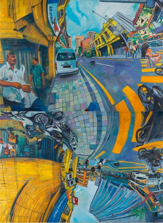 Jalan Tun H.S Lee-Da Ma Cai .Shown in 3 of 4 possible arrangements - Painting,  260x190 cm ©2013 by chin kong yee -