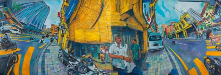 Jalan Tun H.S Lee-Da Ma Cai .Shown in 4 of 4 possible arrangements - Painting,  51.2x149.6 in, ©2013 by Chin Kong Yee -
