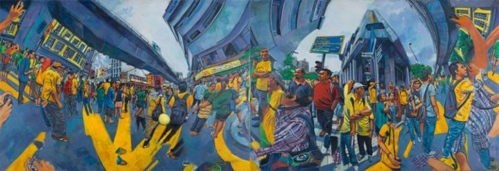 Bersih 3.0 .Shown in 2 of 4 possible arrangements - Painting,  130x380 cm ©2013 by chin kong yee -