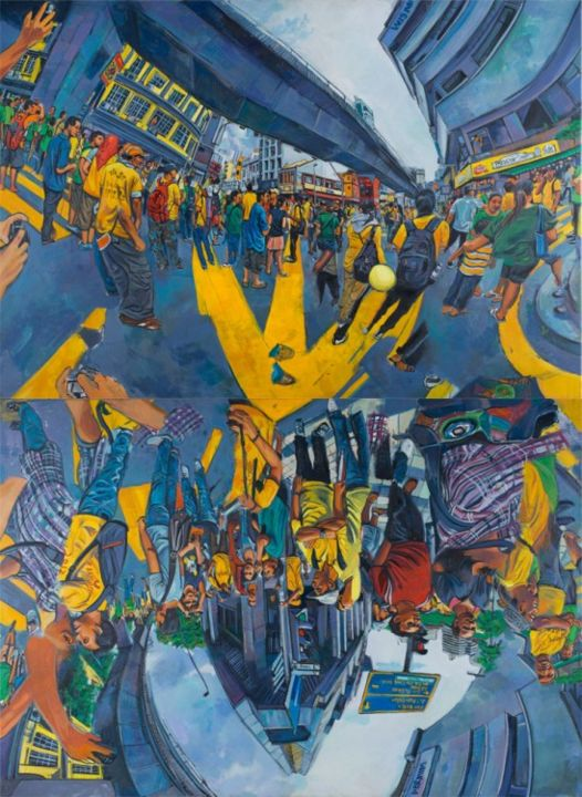 Bersih 3.0 .Shown in 3 of 4 possible arrangements - Painting,  102.4x74.8 in, ©2013 by Chin Kong Yee -
