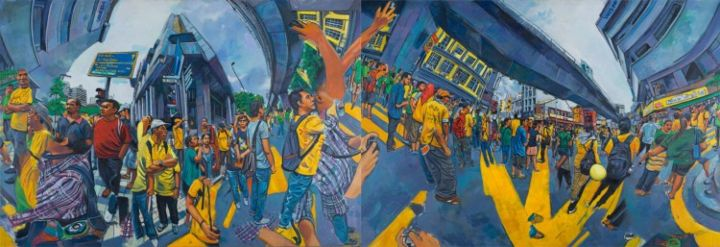 Bersih 3.0 .Shown in 4 of 4 possible arrangements - Painting,  51.2x149.6 in, ©2013 by Chin Kong Yee -