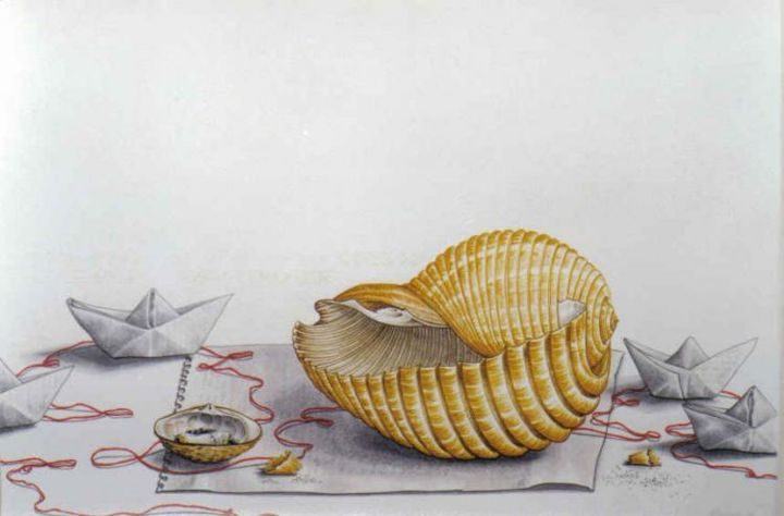 paper ship - Painting,  35x45 cm ©2004 by Thomai Kontou -            sea shells by thomai kontou