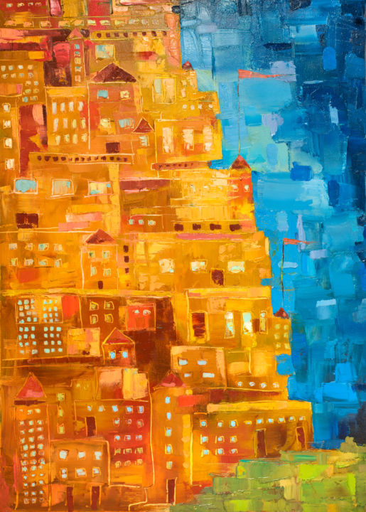 """Painting titled """"City in the Mountain"""" by Mihail Ivanov, Original Art, Oil Mounted on Wood Panel"""