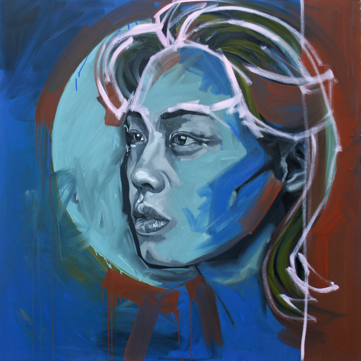 """Painting titled """"Rainy Blue"""" by Kos Cos, Original Art, Oil Mounted on Stretcher frame"""