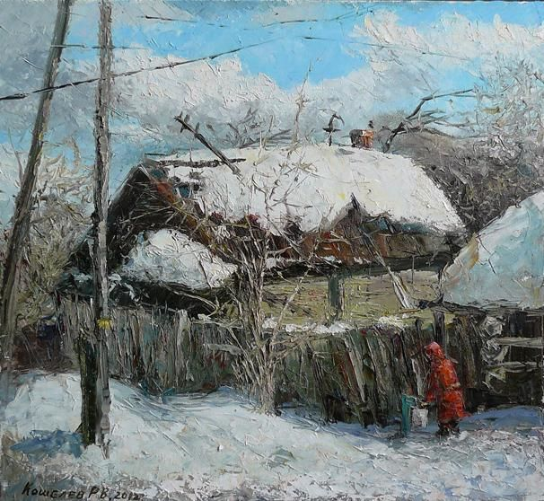 Spring in country - Painting,  60x65 cm ©2012 by Роман Кошелев -                            Realism, Painting of life in country