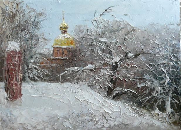 Church in snow - Painting,  45x60 cm ©2012 by Роман Кошелев -                        Realism