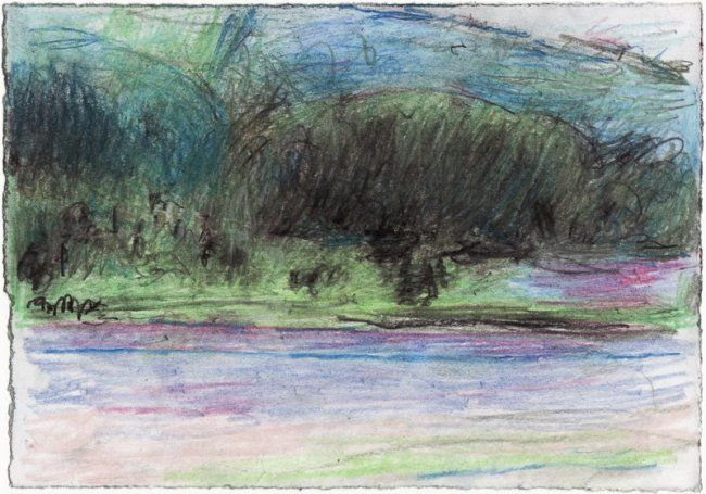 """Drawing titled """"landscape by the ri…"""" by Petar Kosic, Original Art,"""