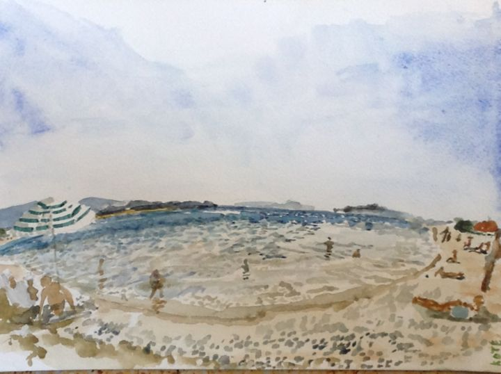 """Painting titled """"plage de l'Ayguade…"""" by Kote Kote, Original Art,"""