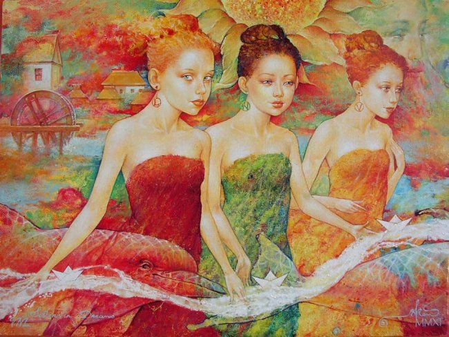 SISTERS in DREAMS - Painting,  54x40 cm ©2011 by Kot Valeriy -                            Contemporary painting, oil on canvas