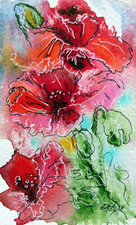 """Painting titled """"Little red poppies"""" by Anna Brigitta Kovacs (KAB), Original Art, Watercolor"""