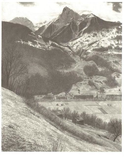 Mountain View Drawing By Kevin Past Artmajeur