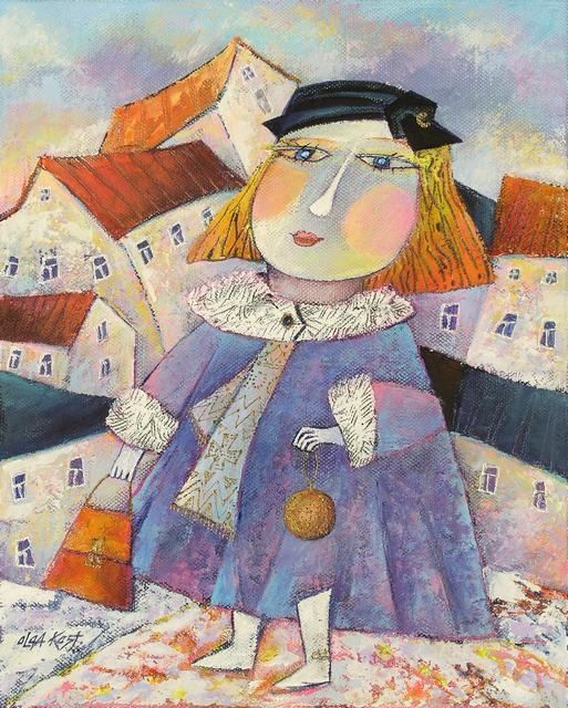 """Painting titled """"Lady with Bag"""" by Olga Kost, Original Art,"""