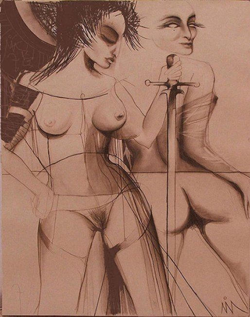 Drawing,  80 x 100 cm ©2005 by kravitz -  Drawing, artwork_cat.Black and White