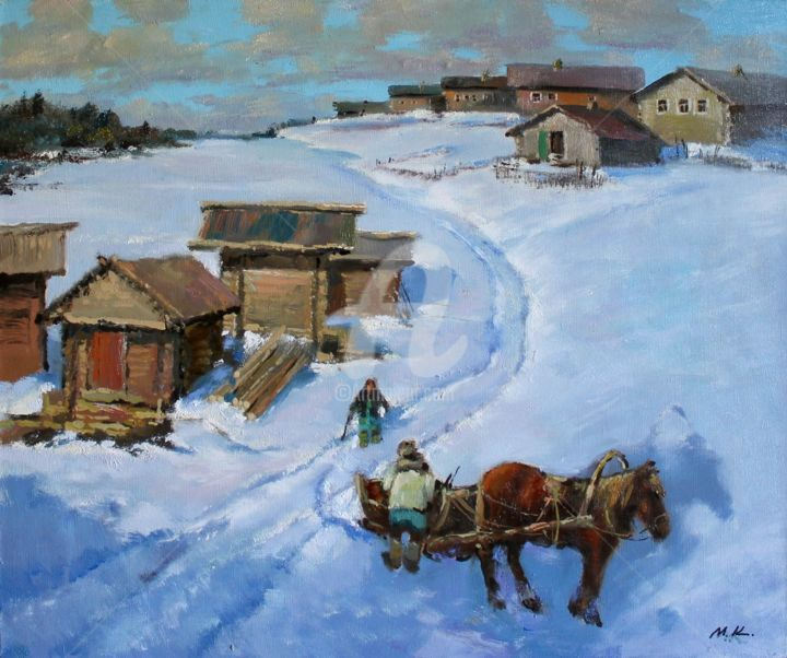 """Painting titled """"The village on the…"""" by Mark Kremer, Original Art, Oil"""