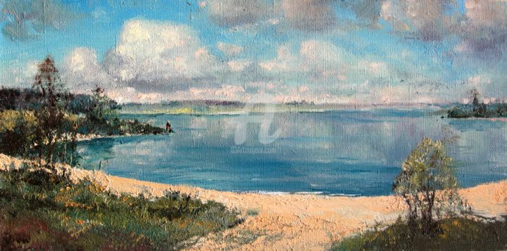 """Painting titled """"Summer by the lake"""" by Mark Kremer, Original Art, Oil"""