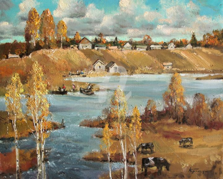 """Painting titled """"On the river bank M…"""" by Mark Kremer, Original Art, Oil"""