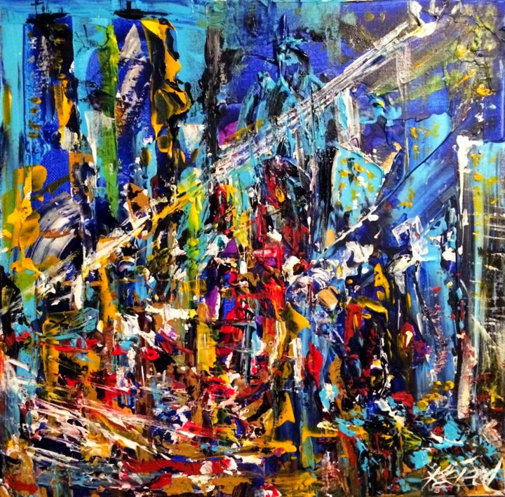 Big city lights - Painting,  12x12x0.5 in ©2018 by Alexander Kriegel -                                                            Abstract Expressionism, Canvas, Cityscape, big city, evening, lights, bustling