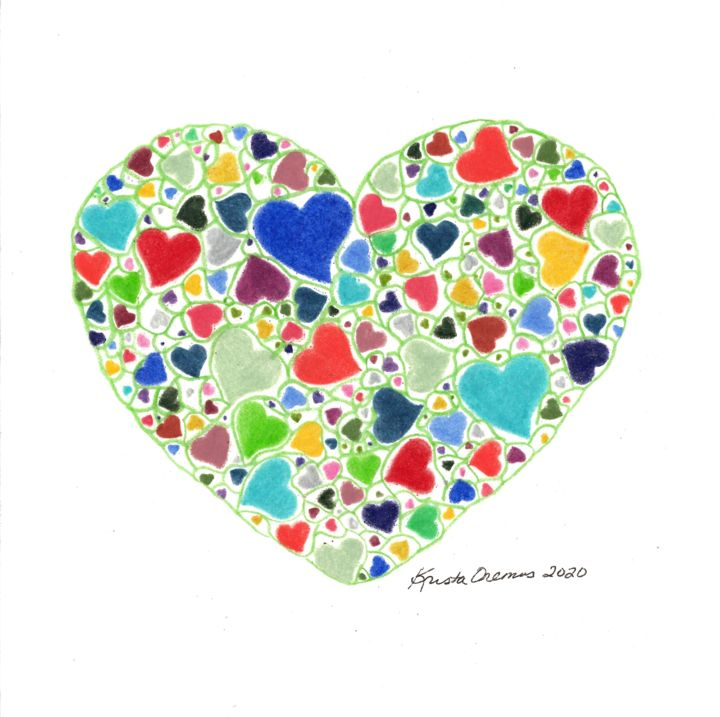 """Drawing titled """"Marbled Hearts"""" by Krista Oremus, Original Art, Pencil"""