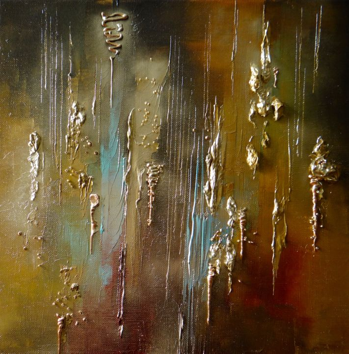 Pluie d'Or - Painting,  30x30 cm ©2016 by Kristeen Van  Ryswyck -                                                        Abstract Art, Canvas, Abstract Art