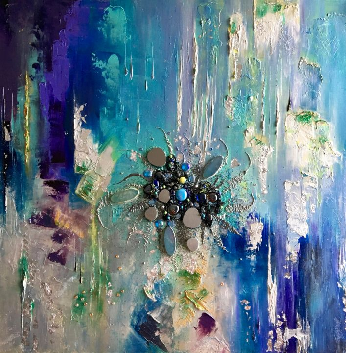 Fleur des sables d'Argent - Painting,  60x60 cm ©2016 by Kristeen Van  Ryswyck -                                                        Abstract Art, Canvas, Abstract Art