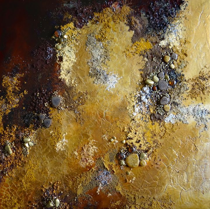 Terre aride - Painting,  23.6x23.6 in, ©2016 by Kristeen Van  Ryswyck -                                                                                                                                                                          Abstract, abstract-570, Abstract Art
