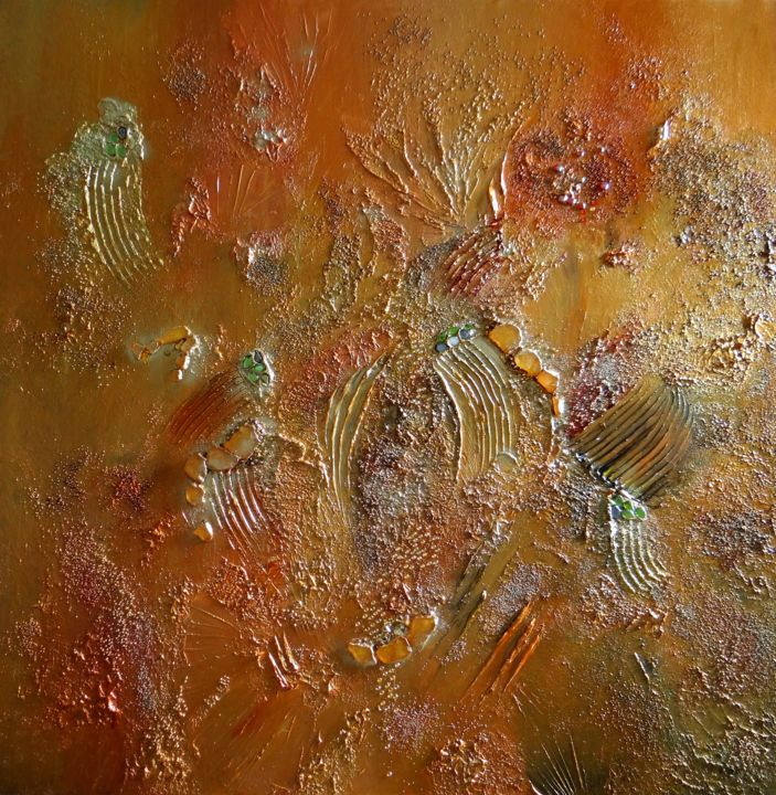 Lumières astrales - Peinture,  31,5x31,5 in, ©2016 par Kristeen Van  Ryswyck -                                                                                                                                                                          Abstract, abstract-570, Art abstrait