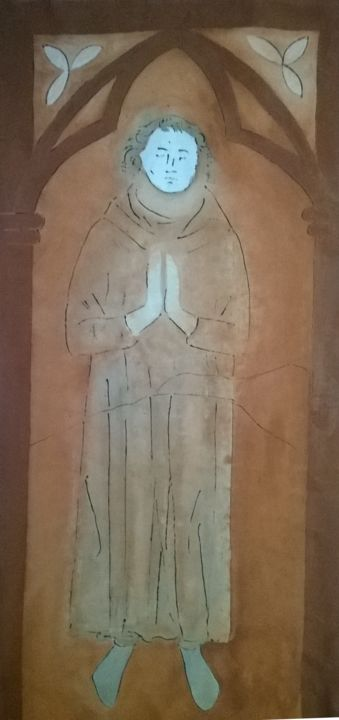 Anonyme - Painting,  27.2x63 in, ©2018 by Agnan Kroichvili -                                                                                                                                                                                                                                                                                                                                                                                                          Figurative, figurative-594, Cotton, Canvas, Architecture, Men, People, Spirituality