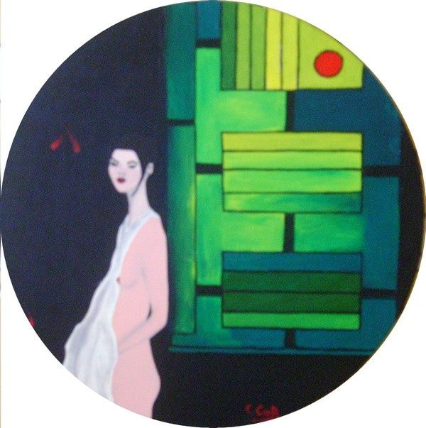 Verts - Painting,  15.8 in, ©2009 by Caroline Cabanis -