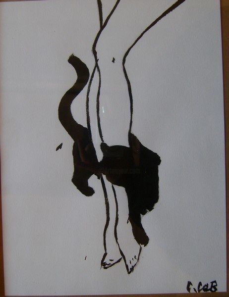 Jambes - Painting,  12.6x9.5 in, ©2009 by Caroline Cabanis -