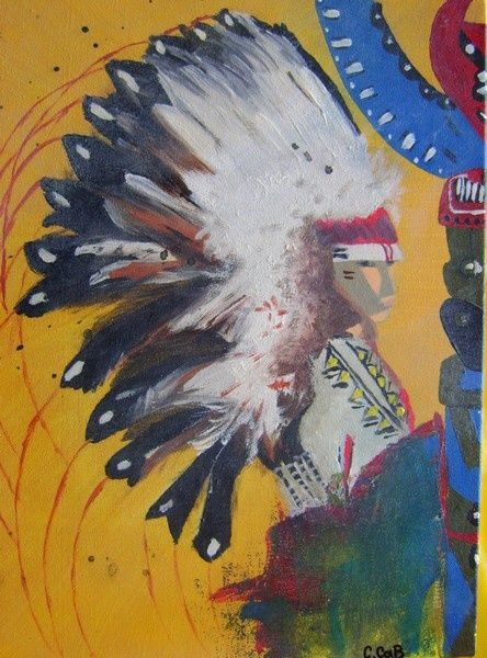 L'indien - Painting,  15.8x11.8 in, ©2009 by Caroline Cabanis -