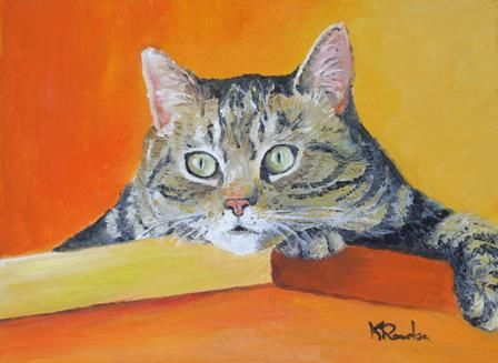 chat - Painting,  19x24 cm ©2007 by Kromka -