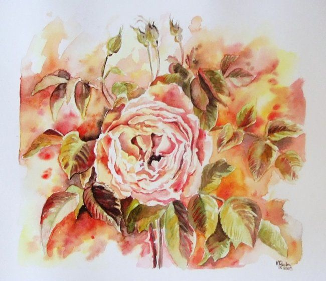 La rose - Painting ©2009 by romualda métout -