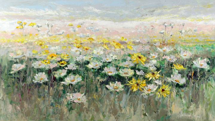 """Painting titled """"Space of Camomiles"""" by Margaret Raven, Original Art, Oil"""