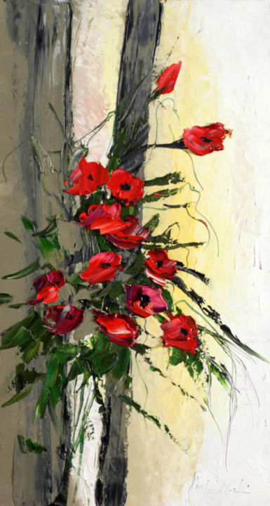 """Painting titled """"Poppies Theme"""" by Margaret Raven, Original Art, Oil"""