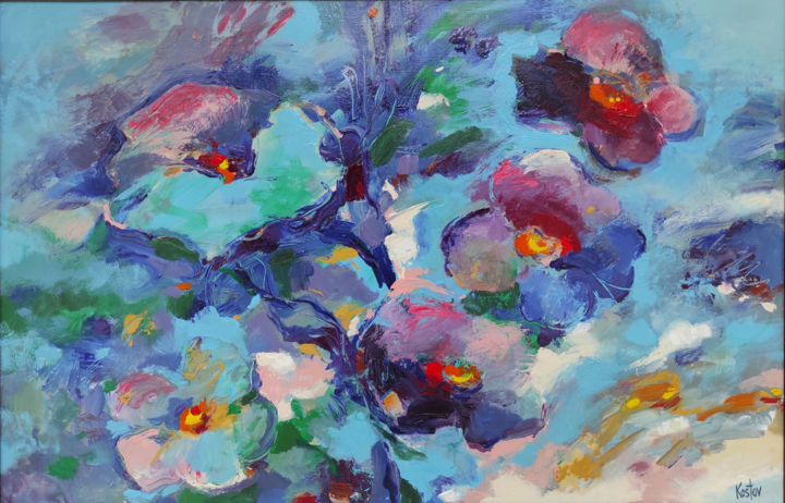 """Painting titled """"Violets"""" by Krum Kostov - Maestro Online, Original Art, Acrylic Mounted on Stretcher frame"""